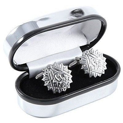 Pewter Round Masonic Cufflinks engraved with the letter