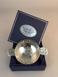 Polished Scottish Pewter Quaich Celtic Knot design, NO ENGRAVING - ideal to put your own message