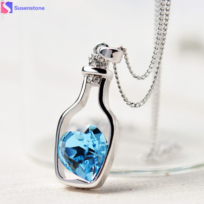 Bottle and Heart Crystal Fashion Pendant Necklace