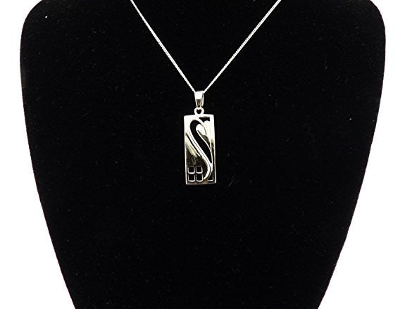 Sterling Silver Rennie Mackintosh Rectangular Pendant & 18 inch curb chain in quality gift box.