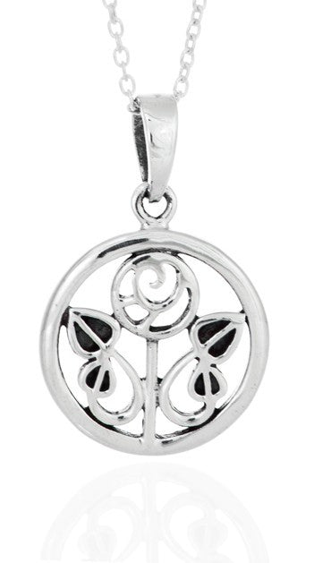 Sterling Silver Rennie Mackintosh 15mm Round Rose Pendant with 18 inch curb chain in gift box.