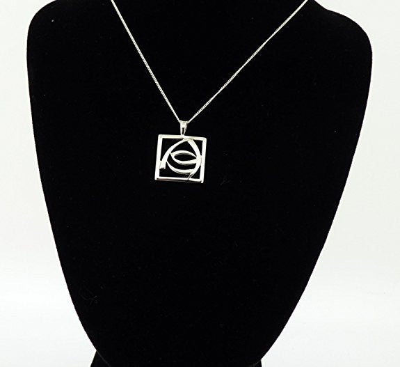 Sterling Silver Rennie Mackintosh Square Pendant & 18 inch curb chain in quality gift box.