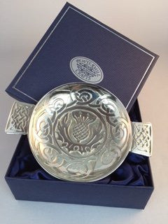 Polished Scottish Pewter Quaich engraved with the image of a Celtic Thistle