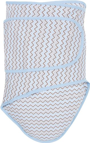 Miracle Blanket Swaddle Wrap for Newborn Infant Baby, Blue Chevron