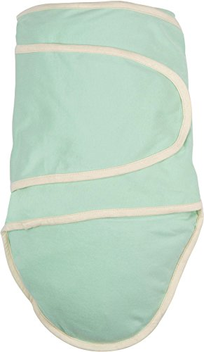 Miracle Blanket Swaddle Wrap for Newborn Infant Baby, Green with Beige Trim