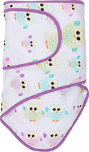 Miracle Blanket Swaddle Wrap for Newborn Infant Baby, Owls with Purple Trim