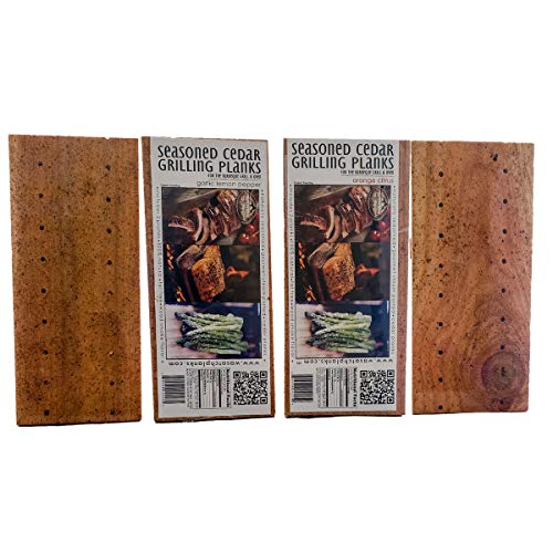 Wasatch Mountain Cedar Grilling Planks 4 Pack Seasoned (Orange Citrus, Garlic Lemon Pepper)
