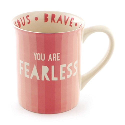 "Enesco 6000076 Our Our Name Is Mud ""Fearless"" Stoneware Coffee Mug, 16 oz, Pink"