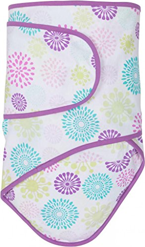 Miracle Blanket Swaddle Wrap for Newborn Infant Baby, Colorful Bursts with Purple Trim