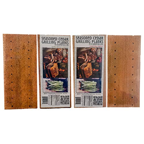 Wasatch Mountain Cedar Grilling Planks 4 Pack Seasoned (Rosemary Merlot, Garlic Lemon Pepper)