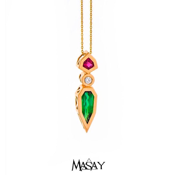 Futuristic 18K Yellow Gold Watermelon Tourmaline Diamond Pendant