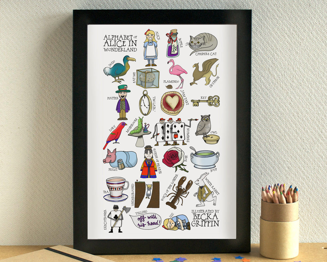 Alice in Wonderland Alphabet Art Print