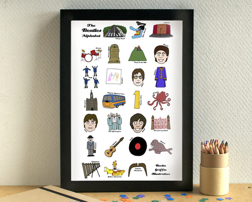 Beatles Alphabet Art Print - can be personalised