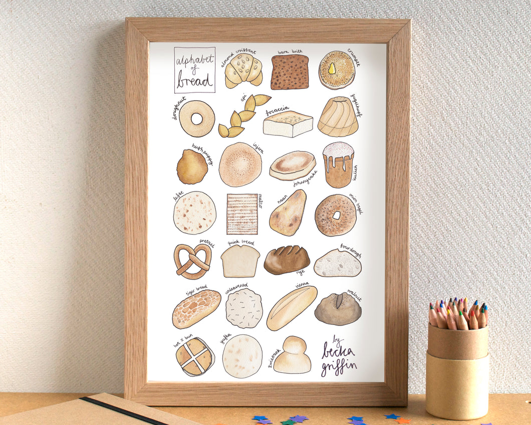 Bread Alphabet Art Print
