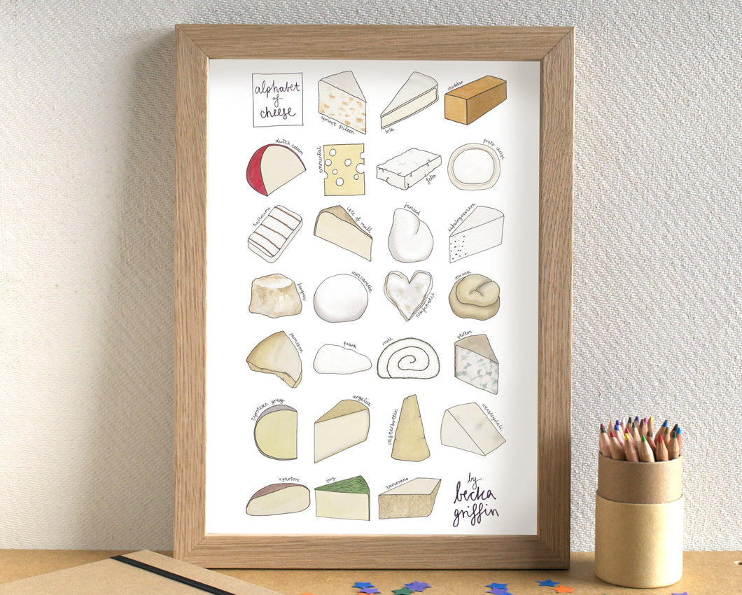 Cheese Alphabet Art Print