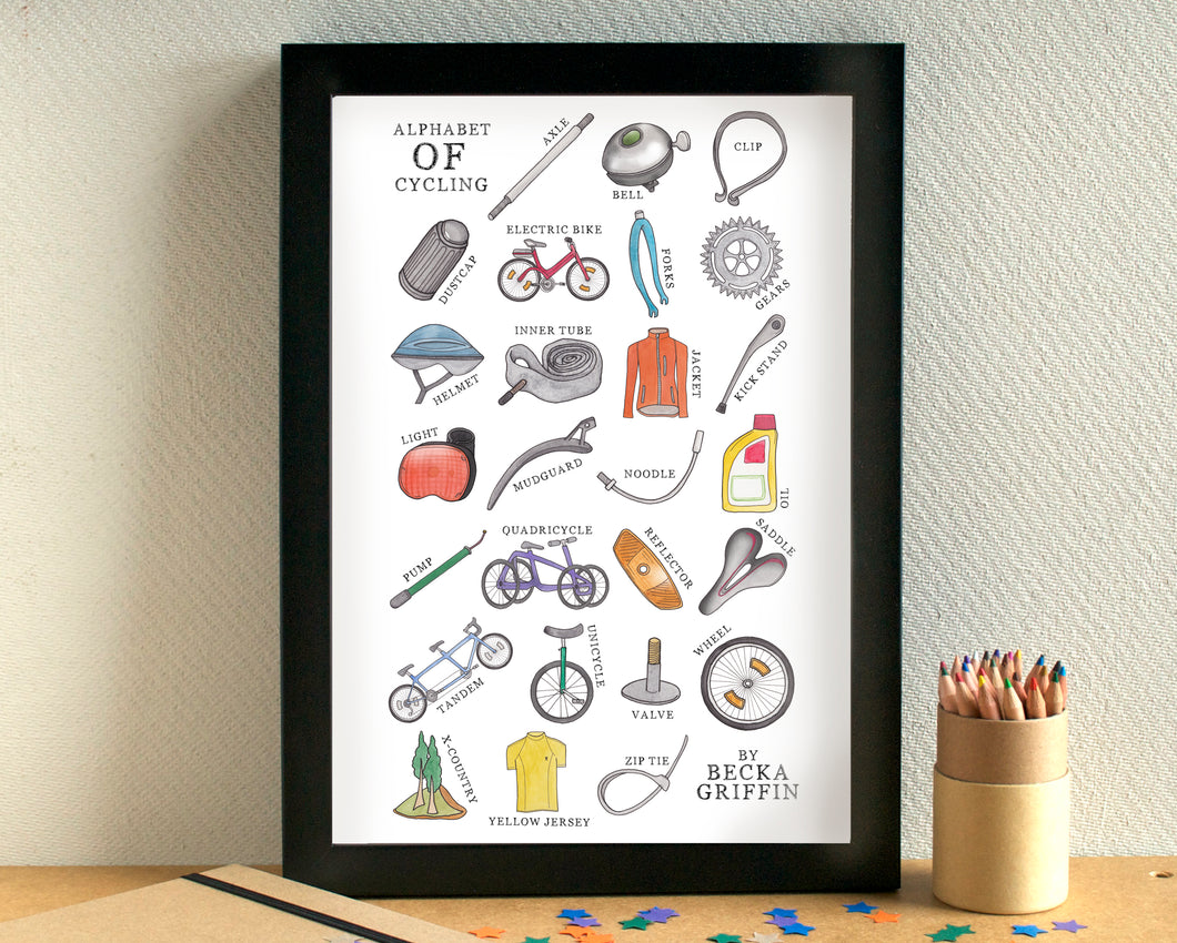 Cycling Alphabet Art Print - can be personalised