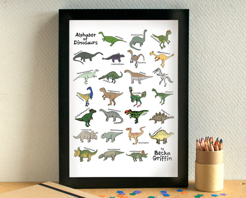 Dinosaur Alphabet Art Print - can be personalised