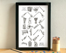 Musical Instruments Alphabet Art Print - can be personalised