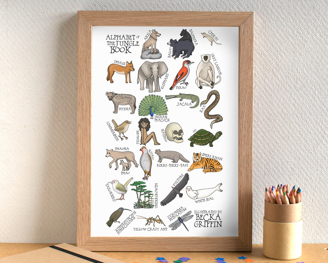 The Jungle Book Alphabet Art Print