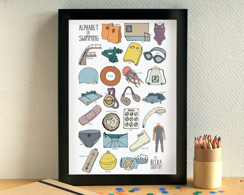 Swimming Alphabet Art Print