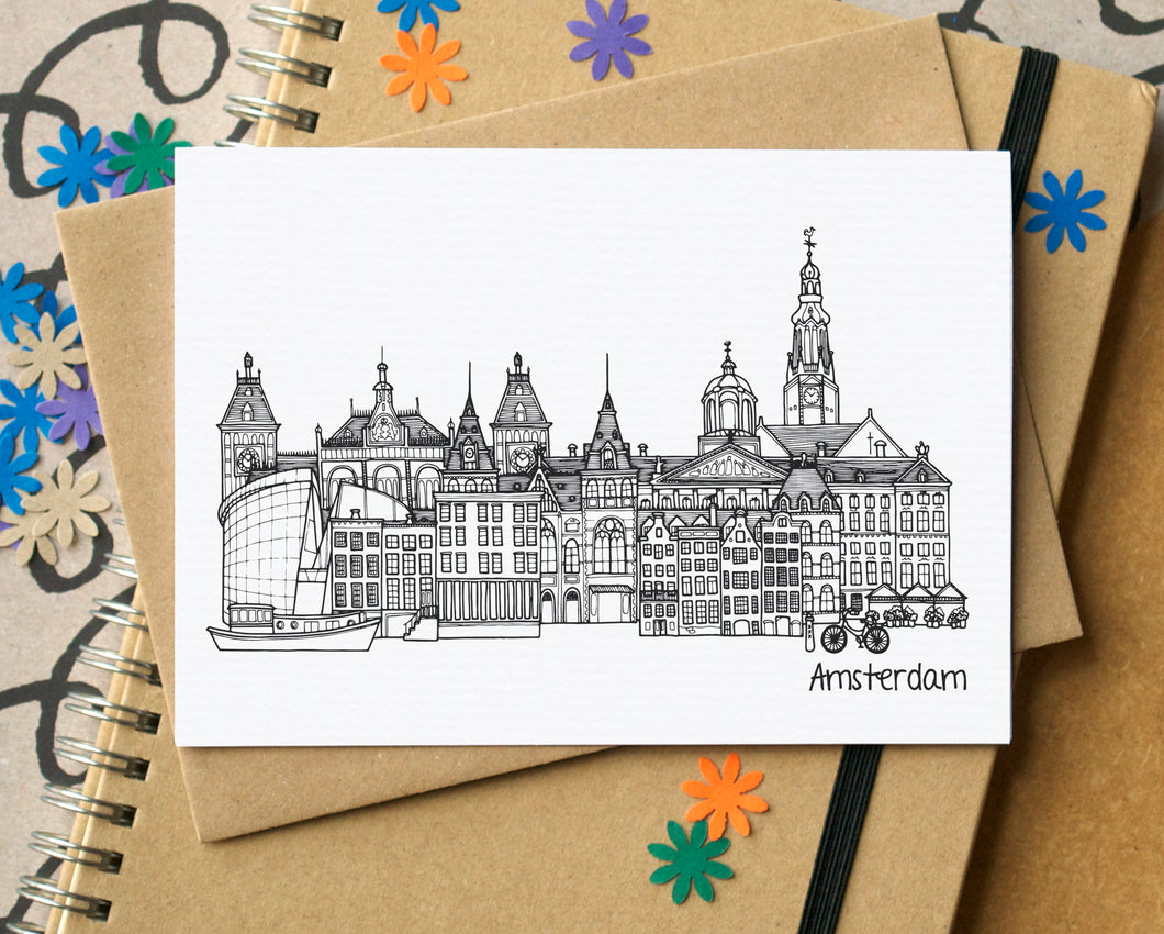 Amsterdam Skyline Landmarks Greetings Card