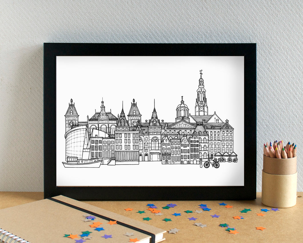 Amsterdam Skyline Landmarks Art Print - can be personalised