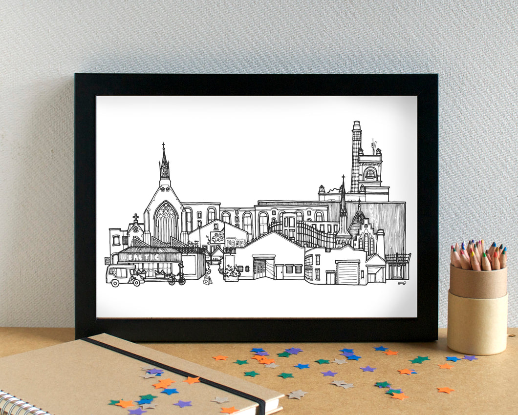 Baltic Triangle Skyline Landmarks Art Print - can be personalised