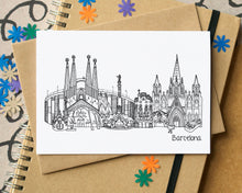 Barcelona Skyline Landmarks Greetings Card