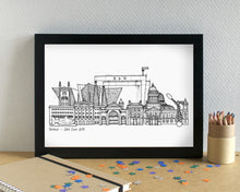 Belfast Skyline Landmarks Art Print - can be personalised