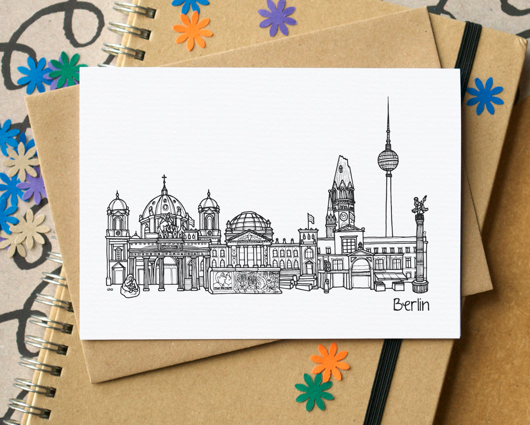 Berlin Skyline Landmarks Greetings Card