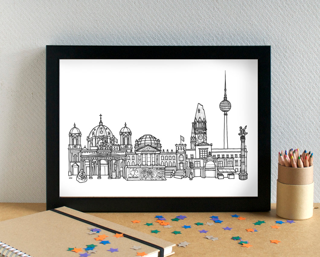 Berlin Skyline Landmarks Art Print - can be personalised