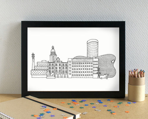 Birmingham Skyline Landmarks Art Print - can be personalised