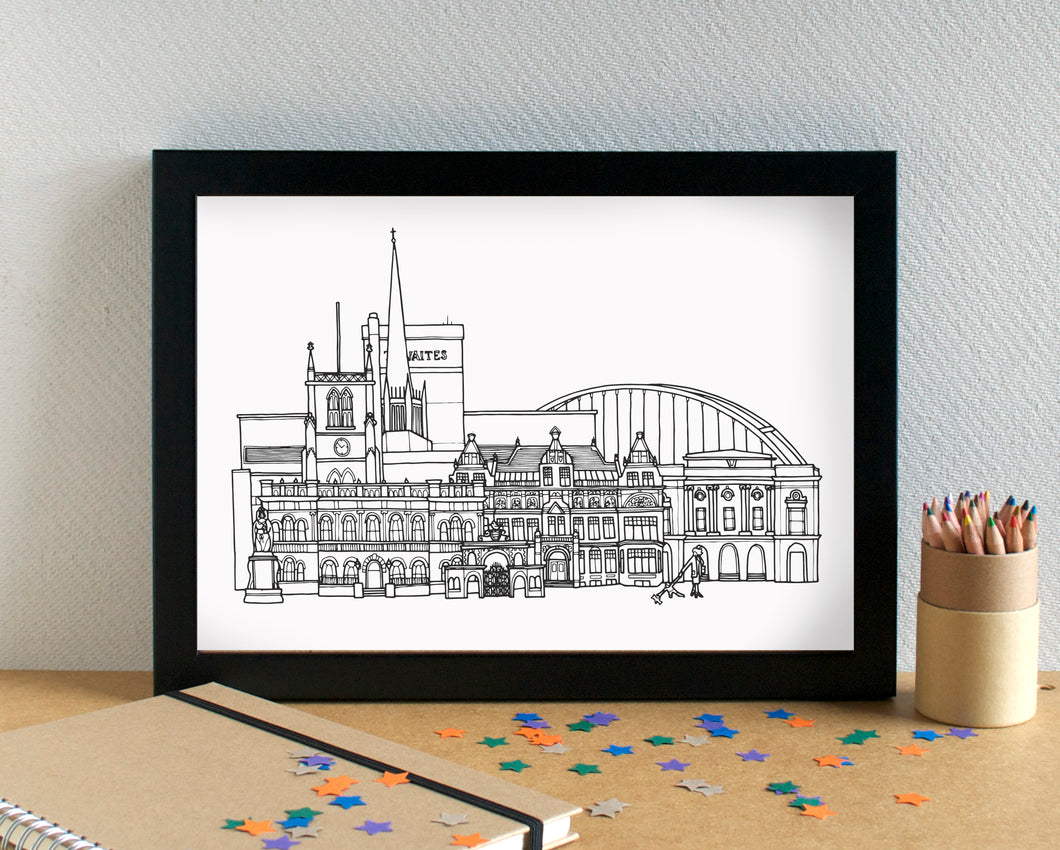 Blackburn Skyline Landmarks Art Print - can be personalised