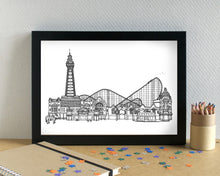 Blackpool Skyline Landmarks Art Print - can be personalised
