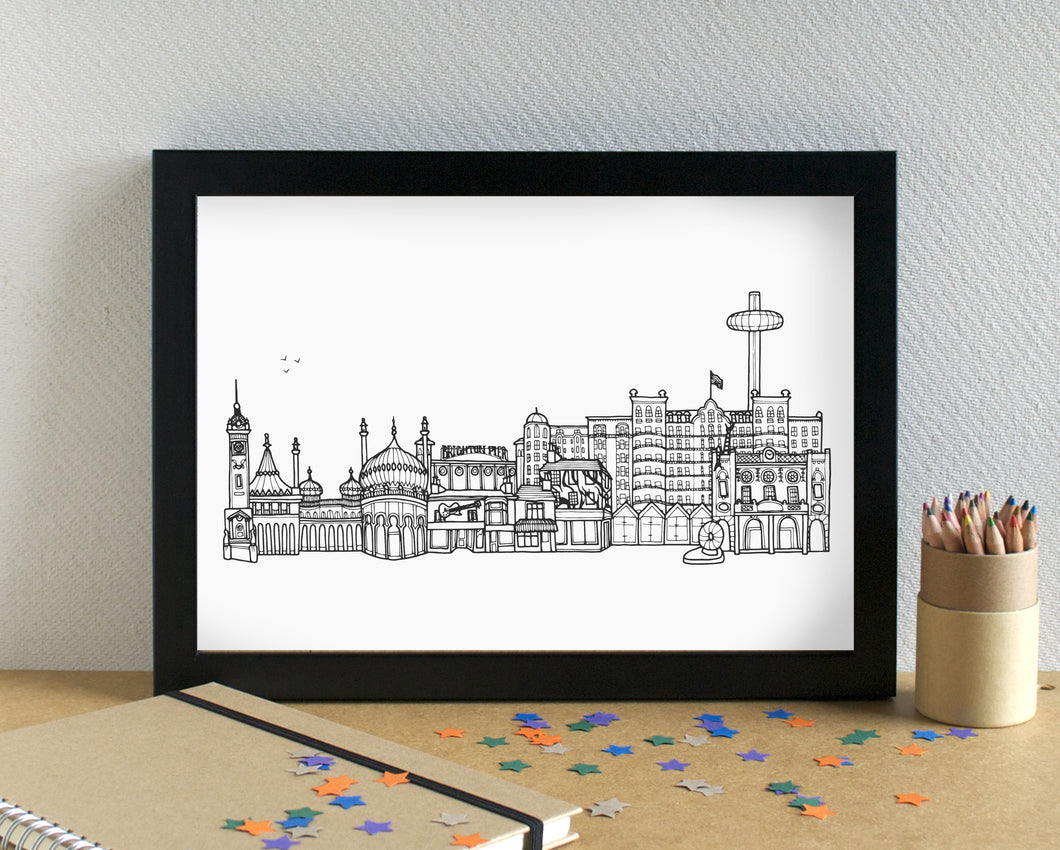 Brighton Skyline Landmarks Art Print - can be personalised