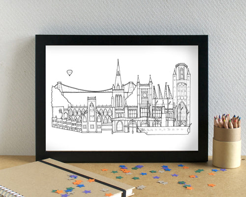 Bristol Skyline Landmarks Art Print - can be personalised