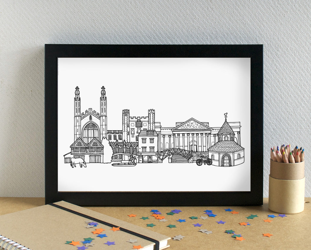 Cambridge Skyline Landmarks Art Print - can be personalised