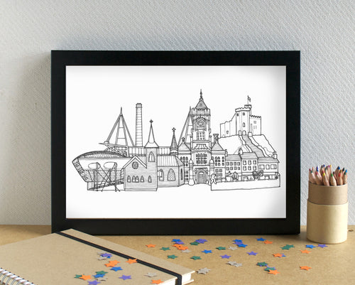 Cardiff Skyline Landmarks Art Print - can be personalised