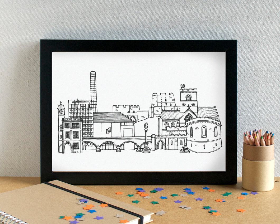 Carlisle Skyline Landmarks Art Print - can be personalised