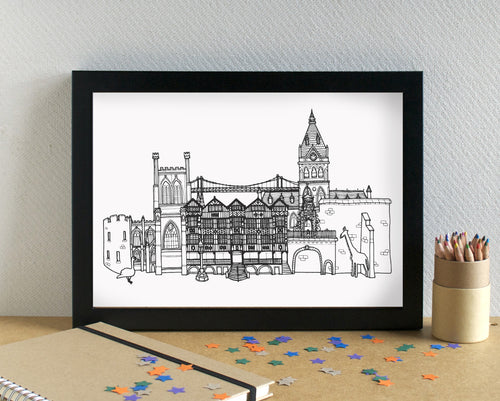 Chester Skyline Landmarks Art Print - can be personalised
