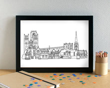 Durham Skyline Landmarks Art Print - can be personalised