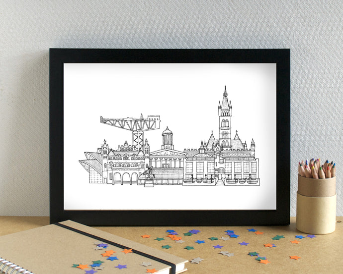 Glasgow Skyline Landmarks Art Print - can be personalised