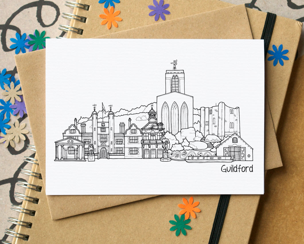 Guildford Skyline Landmarks Greetings Card