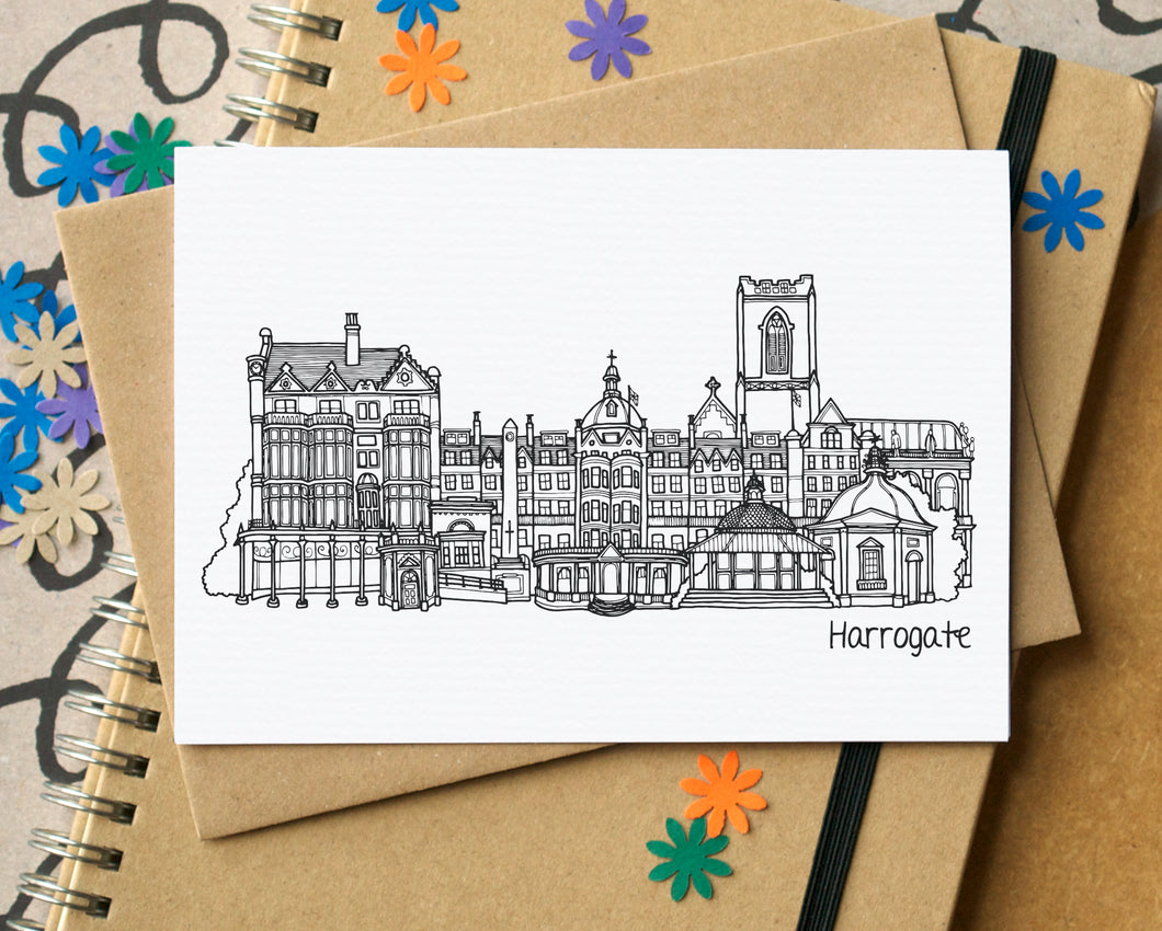 Harrogate Skyline Landmarks Greetings Card