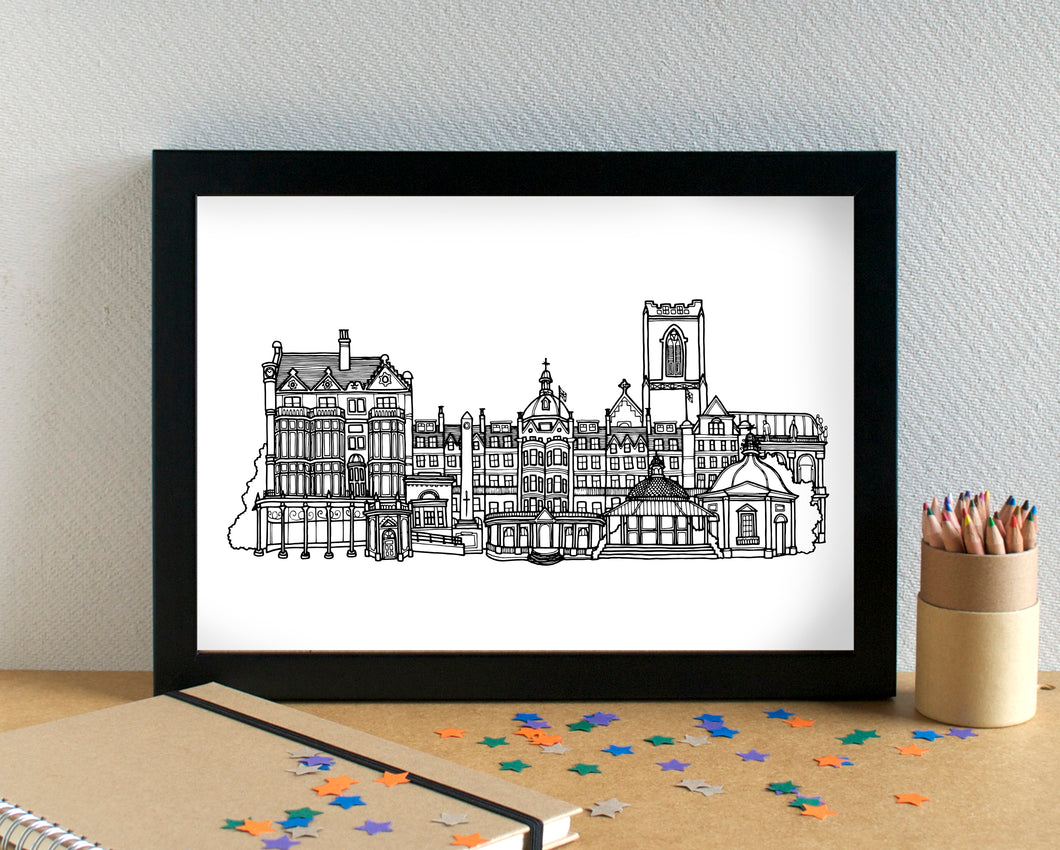 Harrogate Skyline Landmarks Art Print - can be personalised