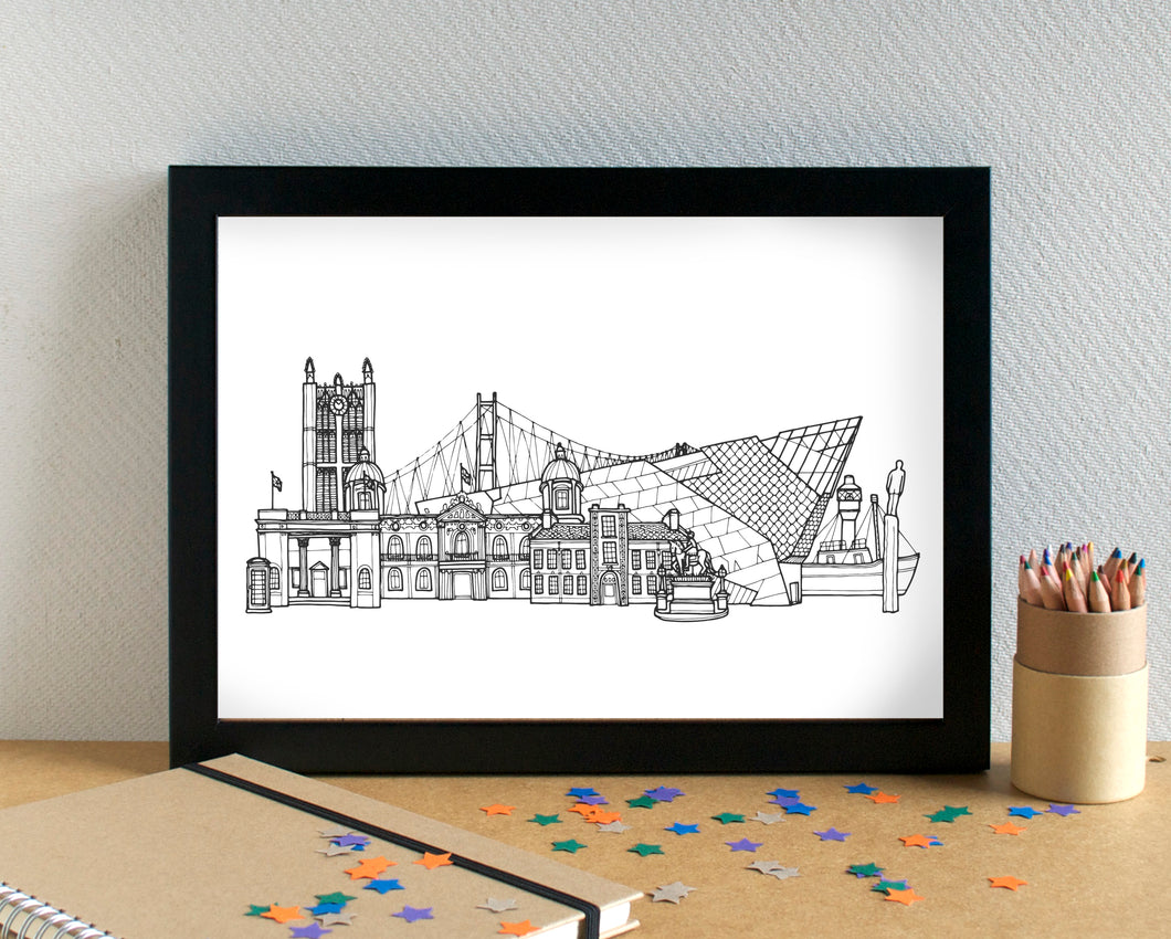 Hull Skyline Landmarks Art Print - can be personalised