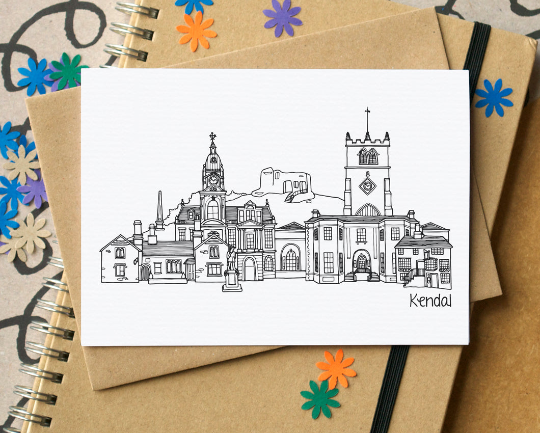 Kendal Skyline Landmarks Greetings Card