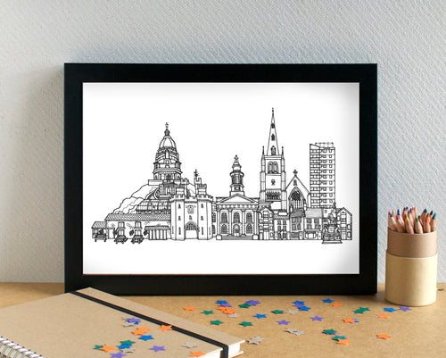 Lancaster Skyline Landmarks Art Print - can be personalised