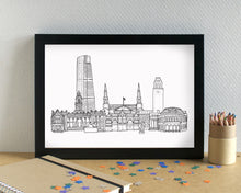 Leeds Skyline Landmarks Art Print - can be personalised