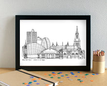 Leicester Skyline Landmarks Art Print - can be personalised